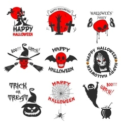 set halloween party labels badges and design vector image