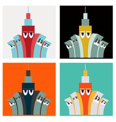 Set of cartoon skyscrapers downtown skyscrapers vector