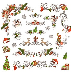 Set of Christmas ornate page decorations and vector