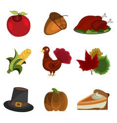 set of thanksgiving day apple acorn turkey corn vector image