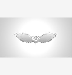 silver flying heart image background vector image