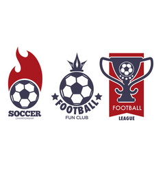 soccer logo set with sport ball and football vector image