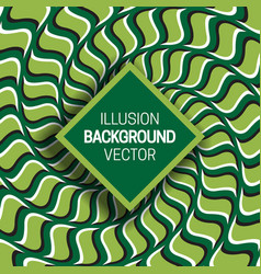 Square frame on green optical illusion hypnotic vector