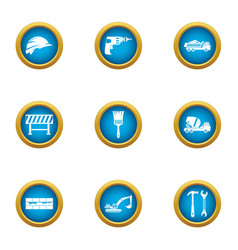 Stable construction icons set flat style vector