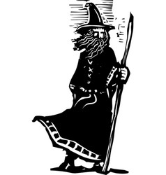 standing wizard with staff vector image