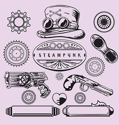 Steampunk vintage element set vector