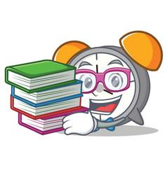 Student with book alarm clock mascot cartoon vector