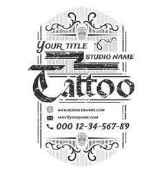 tattoo studio vintage poster template on white vector image