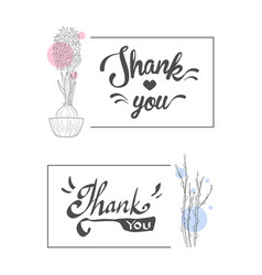 thank you handwritten inscription elegant cards vector image