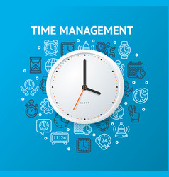 time management concept with realistic detailed 3d vector image