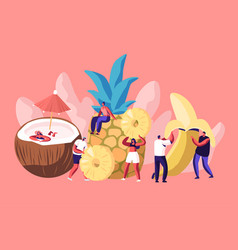 tiny men and women characters and huge ripe fruits vector image
