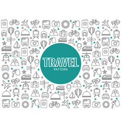 travel line icons pattern vector image