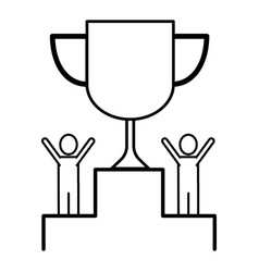 trophy with succes men vector image