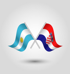 Two crossed argentine and croatian flags vector