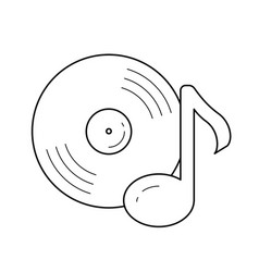 Vinyl record line icon vector