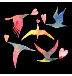 Watercolor bird lovers vector