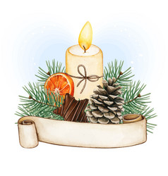 watercolor christmas candle decoration vector image