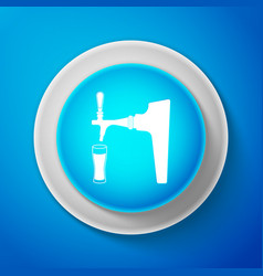 white beer tap with glass icon isolated vector image