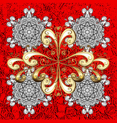 White pattern white floral ornament brocade vector