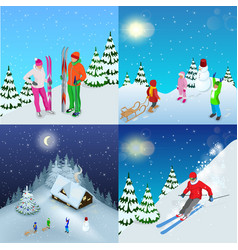 winter active holidays concept family healthy vector image