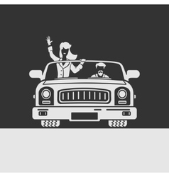 Woman and man in car vector image