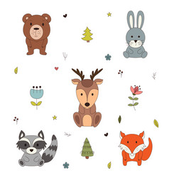 woodland animals with cartoon hand drawn forest vector image