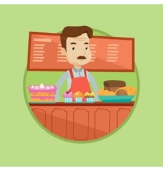Worker standing at the counter in bakery vector
