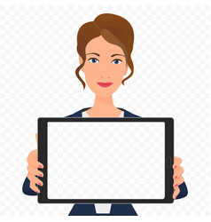 young businesswoman showing the empty tablet pc vector image
