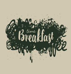 abstract breakfast banner with inscription vector image