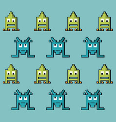 colorful pattern of alien of spatial game vector image