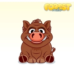 Cute Cartoon Wild Boar Funny Animal vector image vector image