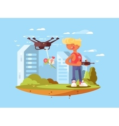 Delivery using quadrocopters vector image vector image