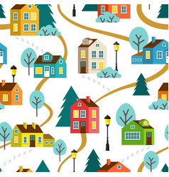 landscape of town seamless pattern vector image vector image