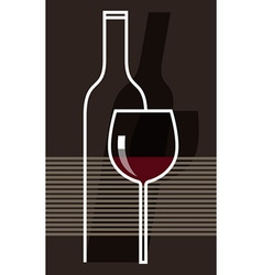 Red wine and glass vector image