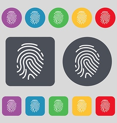Scanned finger Icon sign A set of 12 colored vector image