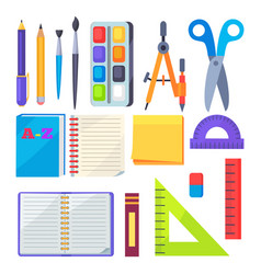 set of stationery objects compass divider pen vector image vector image
