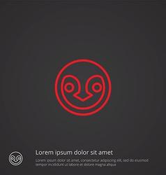 penguin outline symbol red on dark background logo vector image vector image