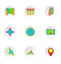 Search way icons set cartoon style vector