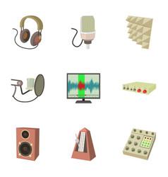 Sound studio electronics icons set cartoon style vector
