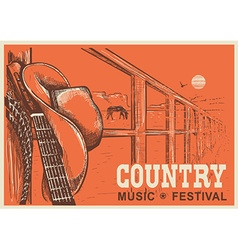 Western country music poster with cowboy hat and vector image vector image
