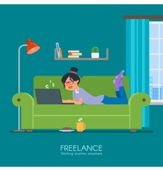 Female freelancer working remotely from her room vector image