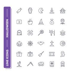 line icons set halloween vector image