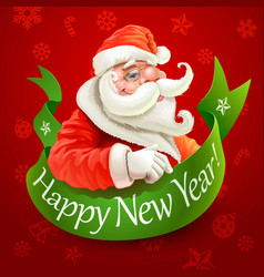new year card with santa claus on red background vector image