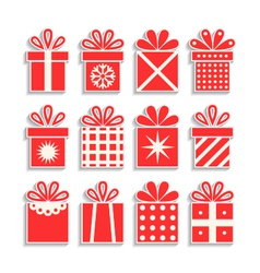 set of gift boxes with ribbons packaging isolated vector image vector image