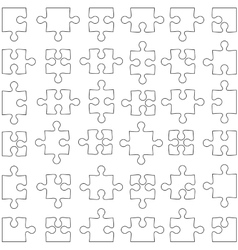 Set of white jigsaw puzzles vector image