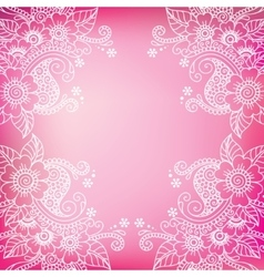White flower frame lace ornament vector image vector image