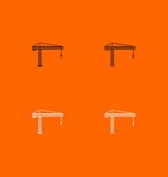 Building crane black and white set icon vector