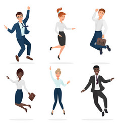 business happy people celebrating a victory vector image