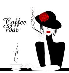 coffee bar with woman smoking cigarette vector image