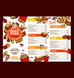 fast food restaurant menu brochure template design vector image vector image